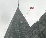 A kupola feujítása 1946-ban történt, a felirat csak télen látható. A feliratra a gondnok hívta fel a figyelmet, ezúton is köszönet érte.