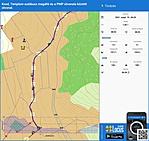 Pecsételő pont és a túra útvonala közötti táv, térkepen.